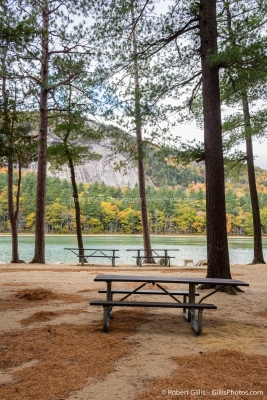 07 Echo Lake - Picnic Tables And Lake In Autumn